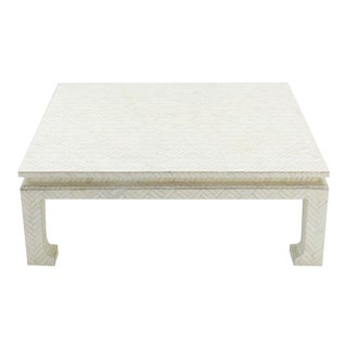 Vintage Mid Century Bone Veneers Tiles Square Coffee Table For Sale