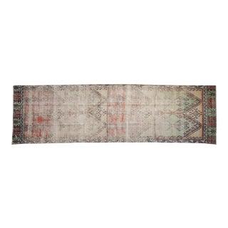 """Vintage Distressed Fragment Oushak Rug Runner - 3'6"""" X 11'9"""" For Sale"""