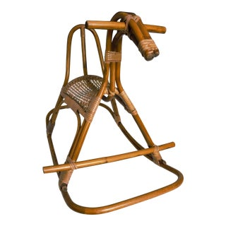 1960s Boho Chic Franco Albini Era Rattan Rocking Horse For Sale