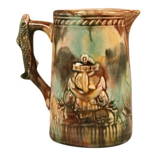 Antique English, Majolica Petite Pitcher For Sale