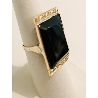 1920s Art Deco Diamond, Onyx and Gold Tablet Ring Sz 6.5 Preview
