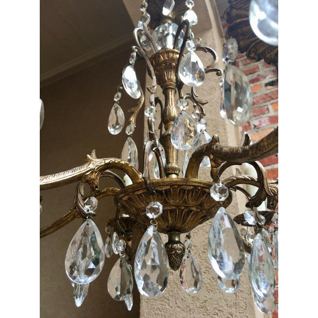 Vintage Six Light French Brass and Crystal Chandelier For Sale - Image 4 of 13
