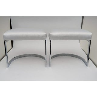 """Milo Baughman 1970s """"Horseshoe"""" Chrome Plated Benches - a Pair Preview"""