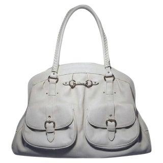 Christian Dior White Leather Shoulder Shopper Bag For Sale