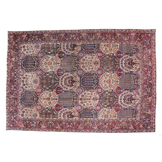 Oversize Antique Persian Yazd with Garden Design in Jewel-Tone Colors For Sale In Dallas - Image 6 of 10