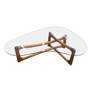 Walnut & Glass Coffee Table Designed by Adrian Pearsall For Sale