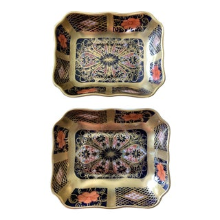 Royal Crown Derby Imari Gold Band Old Imari 1800 Trays - a Pair For Sale