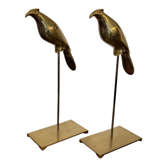 Vintage Brass Birds on Stands, a Pair For Sale