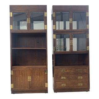 Henredon Campaign Display/Bookshelf Cabinets - a Pair For Sale