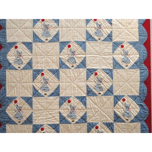 Rustic Folky Mounted Red/White/Blue Sunbonnet Sue Crib Quilt with Balloon For Sale - Image 3 of 7