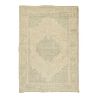 3x5 Antique Vintage Shabby Chic Naturel Turkish Oushak Area Rug For Sale