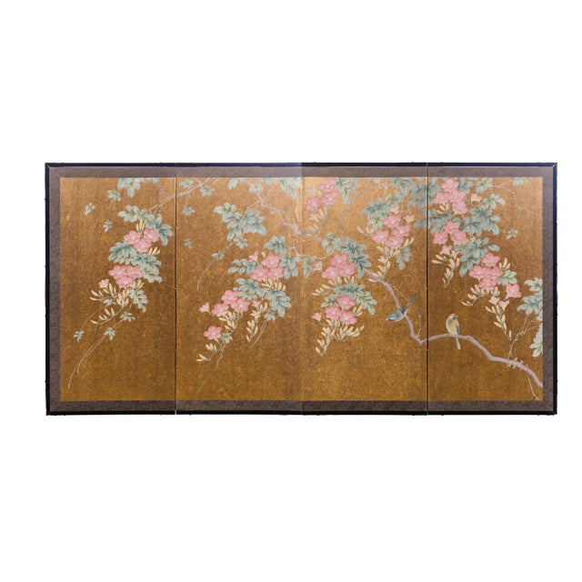 """""""Sparrows With Cherry Blossom"""" 4-Panel Paint on Gold Foil Chinoiserie Hanging Screen For Sale - Image 11 of 11"""