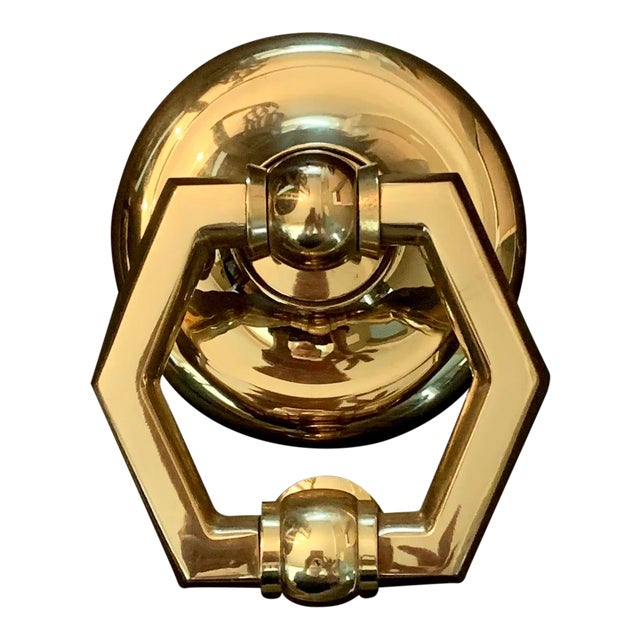 Italian Brass Hexagonal Ring Door Knocker For Sale