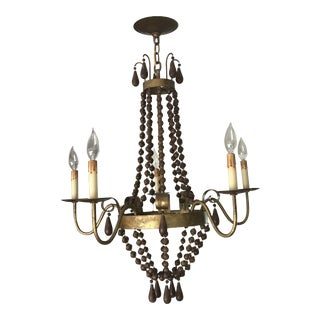 Currey & Company Nicolette Gilt Metal and Wood Beaded Chandelier For Sale