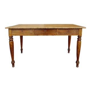 1960s French Country Farmhouse 3-Drawer Dining Table For Sale