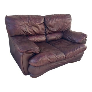 Klaussner Overstuffed Bonded Leather Loveseat For Sale