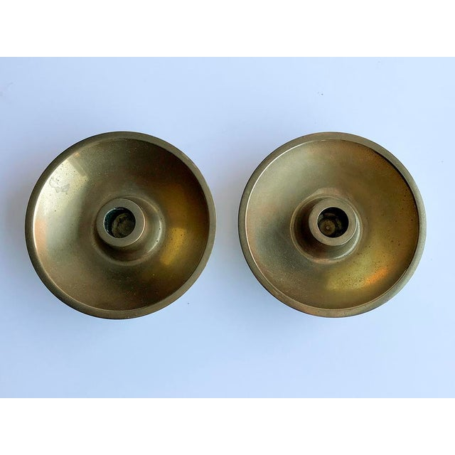 Danish Modern brass candle holders - A Pair -Use with 12mm DIA candles -Made in DENMARK P.L./D.K.
