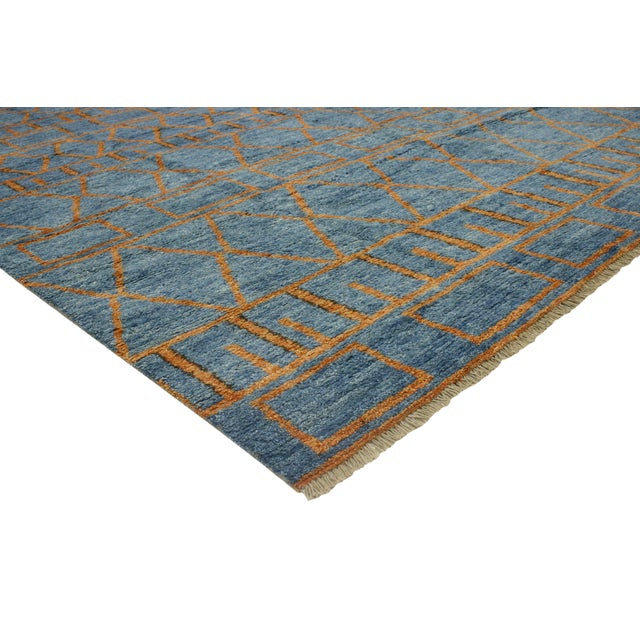Orange and Blue Moroccan Style Rug With Modern Design, 10'05 X 13'00 For Sale In Dallas - Image 6 of 10