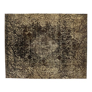 Overdyed Distressed Vintage Turkish Rug With Modern Style and Bone Inlay Design For Sale