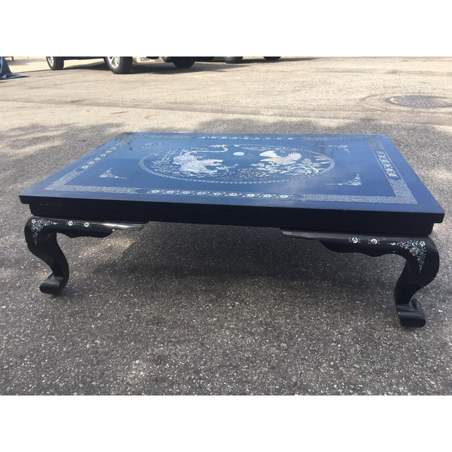 Black Mother of Pearl Lacquered Table For Sale - Image 8 of 9