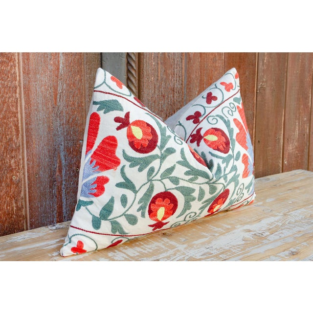 Late 20th Century Jhui Coral Floral Suzani Pillow For Sale - Image 5 of 10