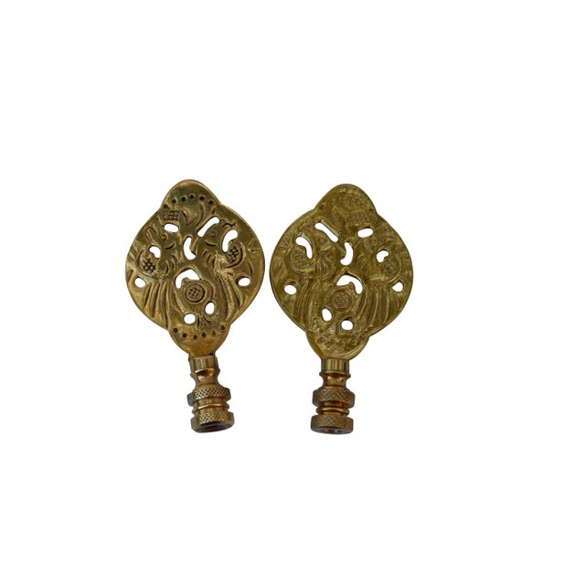 Asian Chinoiserie Style Solid Brass Finials - a Pair For Sale - Image 3 of 4