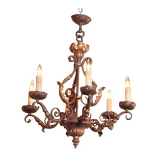 19th Century French Six-Light Iron Chandelier For Sale