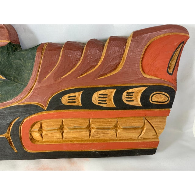 Cecil Dawson Native Northwest Grizzly Bear Painted Wood Carving, Signed For Sale - Image 4 of 13