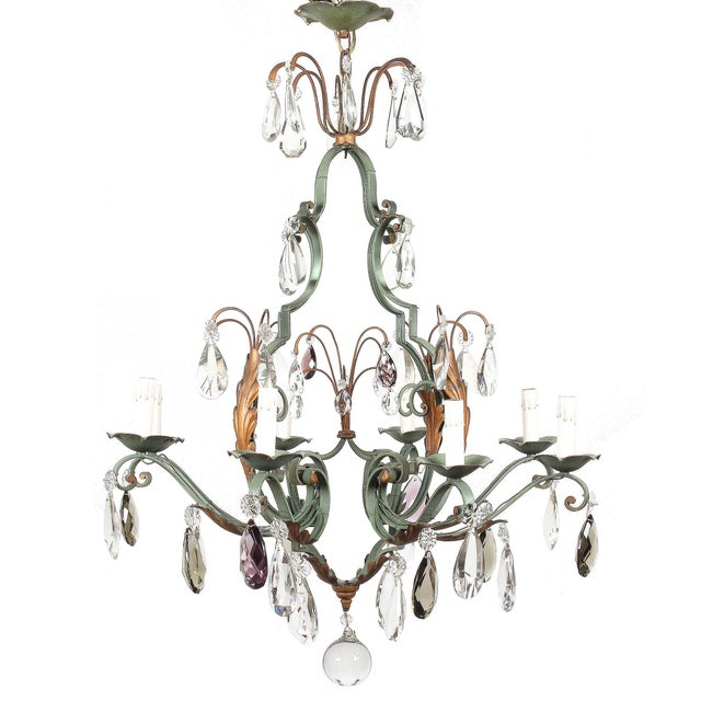 Vintage French 8-Light Painted Iron and Crystal Chandelier For Sale - Image 12 of 12