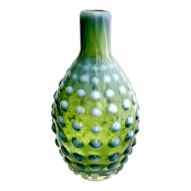 Green Opalescent White Hand Blown Hobnail Vase Chairish