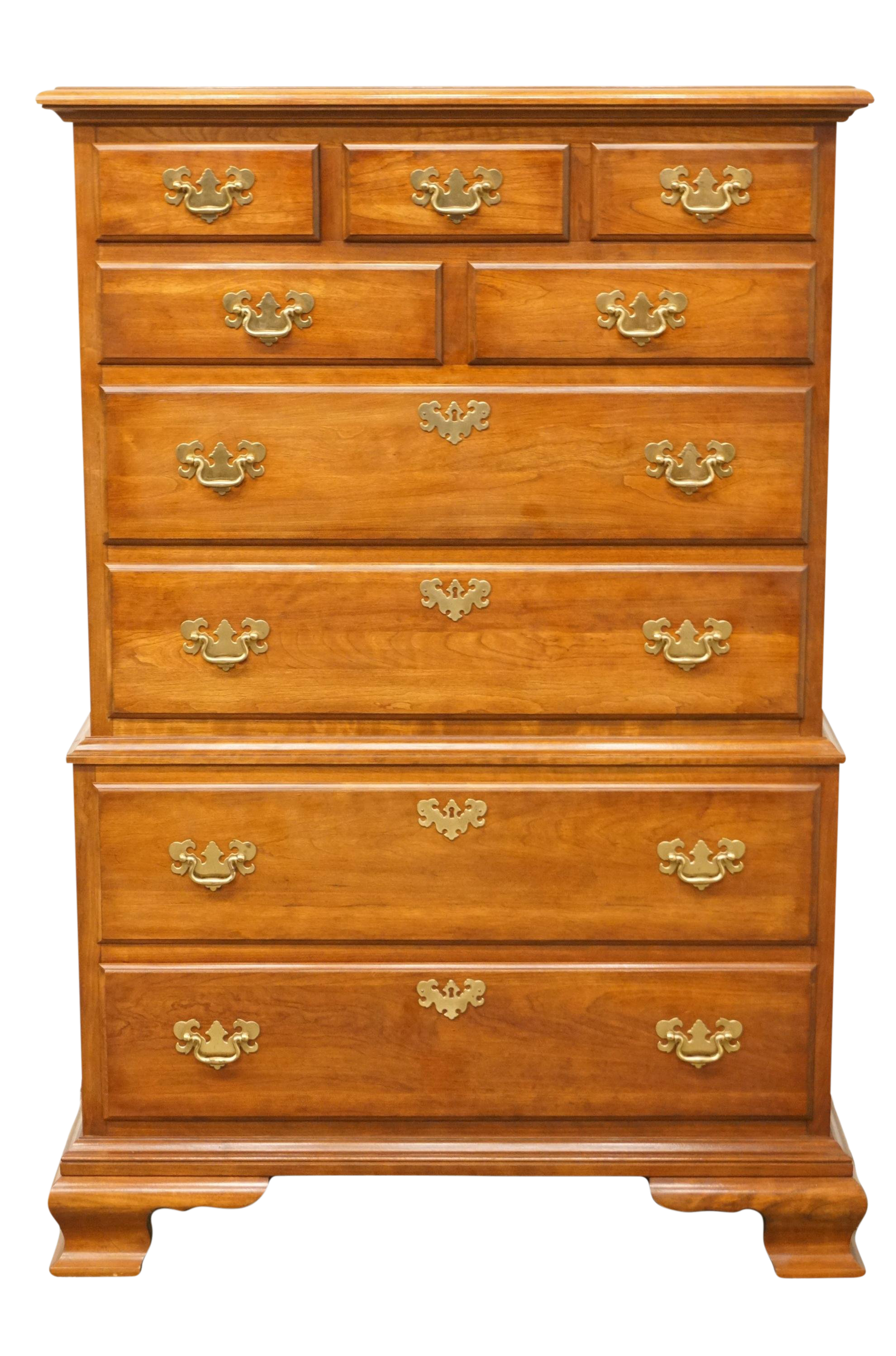 Lovely Late 20th Century Vintage Pennsylvania House Chippendale Solid Cherry Chest  On Chest