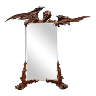 Victorian Mirror With Carved Wood Satyr - Venice Ca. 1880 For Sale