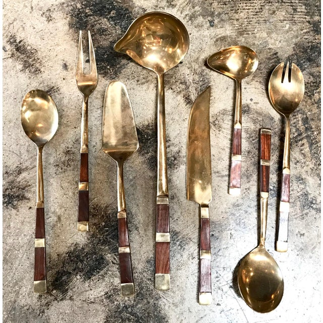 1960s Italy 1950s Brass and Wood Tableware For Sale - Image 5 of 11