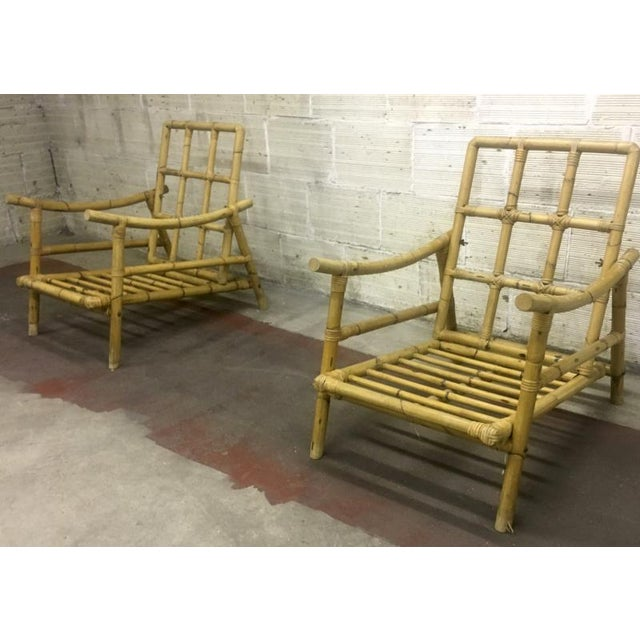 Hollywood Regency Riviera Style Superb Pair of Bamboo Lounge Chairs For Sale - Image 3 of 4
