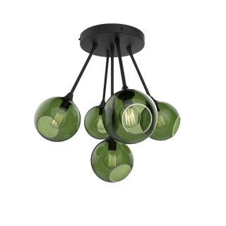 Ballroom Molecule Chandelier - Black / Green For Sale