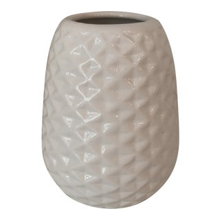 Large White Artisan Carved Vase For Sale