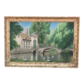 Vintage European Landscape Swans in Lake Oil Painting For Sale