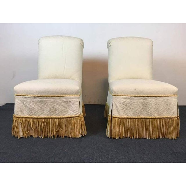 Contemporary White & Slipcovered Side Chairs - A Pair - Image 2 of 7