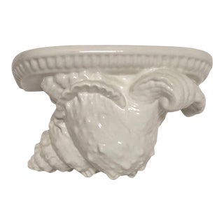 Seashell Wall Shelf Corbel Bracket Italian Ceramic For Sale