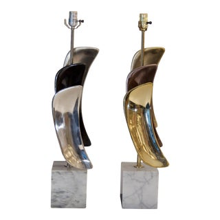 1960s Sculptural Brass & Chrome Table Lamps by Laurel Lamp Company For Sale