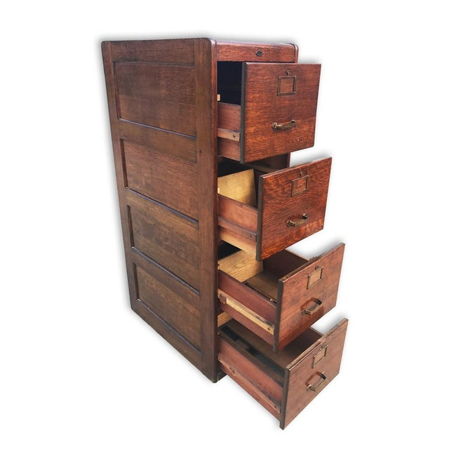 An exceptional piece for any estate's library, study or office. These Antique Oak 4 Drawer File Cabinets are highly sought...