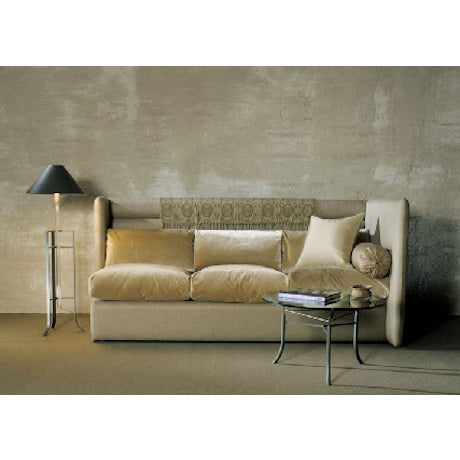 Custom made copy of the Tuscan queen sleeper sofa by Donghia. Upholstered in a heavyweight, durable stone linen with a...