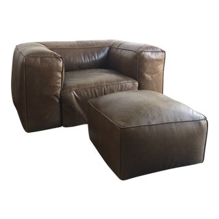 Overstuffed Leather Lounge Chair & Ottoman For Sale