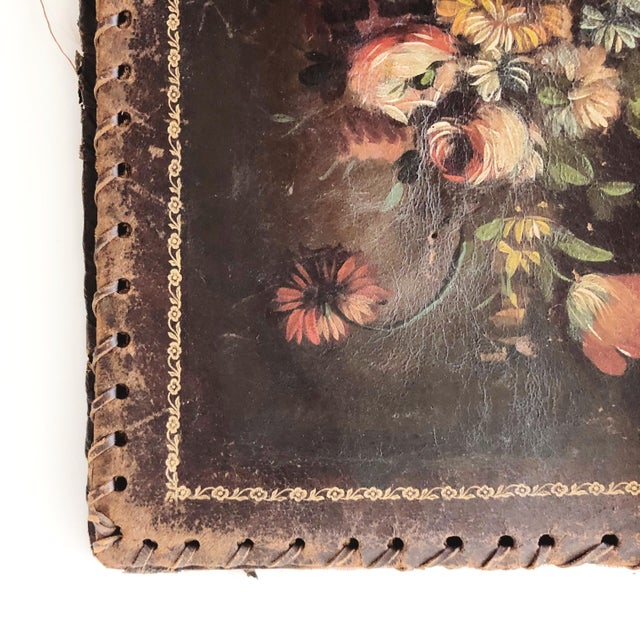 1900 - 1909 Antique Hand-Painted Leather Book Jacket For Sale - Image 5 of 8