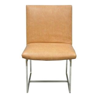 Vintage Mid Century Modern Milo Baughman Chrome Floating Frame Dining Side Chair For Sale