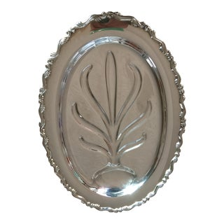 Mid-Century Silver Plated Footed Meat Platter For Sale