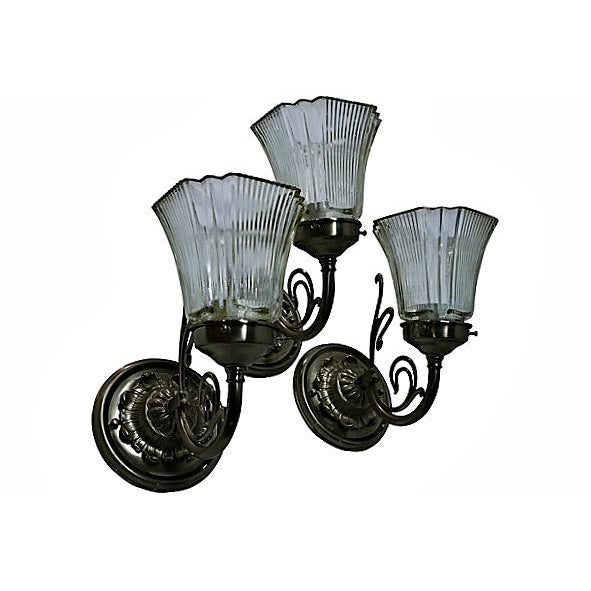 White Brass Sconces - Set of 3 - Image 5 of 7