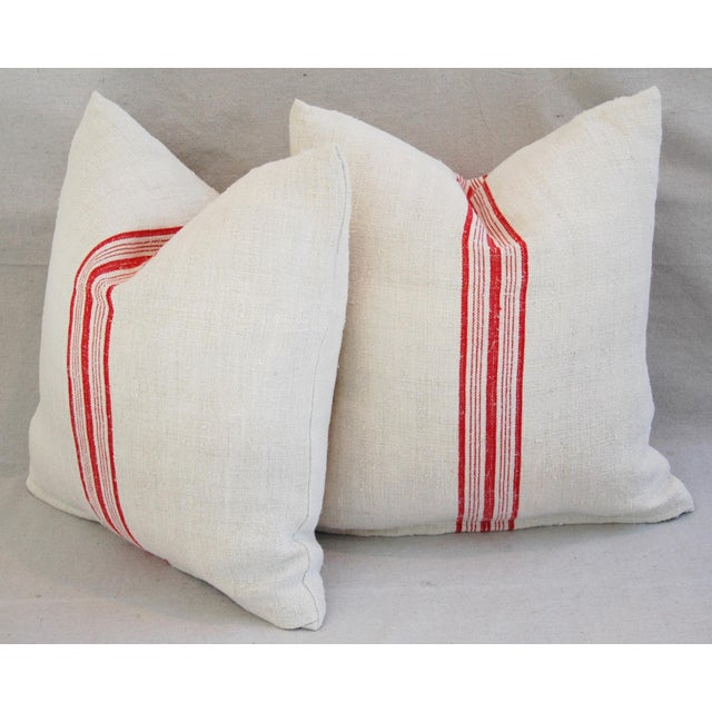 Red Stripe French Grain Sack Pillows - Pair - Image 9 of 11