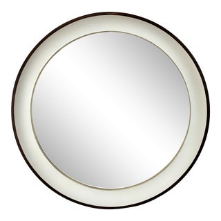Modern Antique Silver Faux Wood Round Mirror For Sale