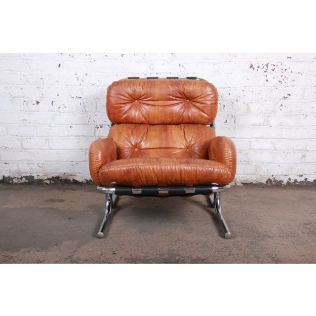 Milo Baughman for Directional Mid-Century Modern Lounge Chair and Ottoman, 1970s For Sale In South Bend - Image 6 of 13